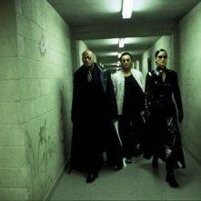 Laurence Fishburne, Collin Chou e Carrie-Anne Moss in una scena di MATRIX REVOLUTIONS