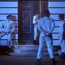 James Marcus, Malcolm McDowell, Warren Clarke e Michael Tarn in una scena di ARANCIA MECCANICA