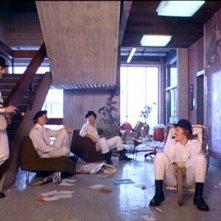 Malcolm McDowell, Michael Tarn, James Marcus e Warren Clarke e  in una scena di ARANCIA MECCANICA