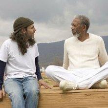 Tom Shadyac e Morgan Freeman sul set di Un'impresa da Dio