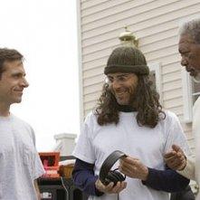 Tom Shadyac, Steve Carell e Morgan Freeman sul set di Un'impresa da Dio