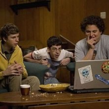 Jonah Hill, Michael Cera e Christopher Mintz-Plasse in una sequenza di SuxBad ??