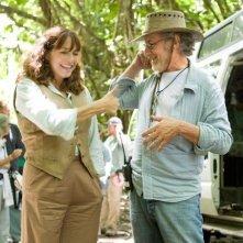Steven Spielberg e Karen Allen sul set di Indiana Jones 4