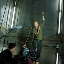 Bruce Willis sul set del film Live Free or Die Hard