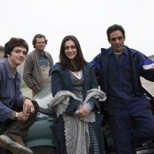 Valentina Lodovini, Ahmed Hefiane, Giovanni Capovilla in posa sul set de La giusta distanza