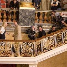 Nicolas Cage durante le riprese del film National Treasure 2: Il Mistero delle pagine perdute