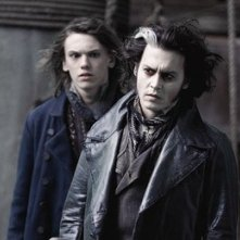 Johnny Depp in una sequenza di Sweeney Todd