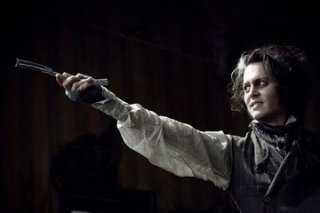 Johnny Depp in una scena di Sweeney Todd