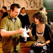 Matt Reeves e Lizzy Caplan sul set di Cloverfield.