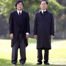 Heroes Volume II - Episodio 9: Hiro (Masi Oka) insieme a suo padre, Kaito (George Takei)