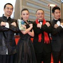 Taisheng Chen, Zhang Jia-yi, Lan Weiwei e il regista Wang Xiaoshuai a Berlino 2008 per In Love We Trust