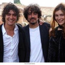 Riccardo Scamarcio, Sergio Rubini e Vittoria Puccini sul set del film Colpo d'occhio