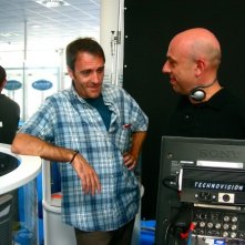 Un'immagine di Paolo Virzì con Valerio Mastandrea sul set di Tutta la vita davanti.