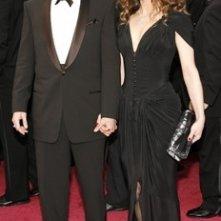 Johnny Depp e Vanessa Paradis sul tappeto rosso degli 80° Academy Awards.