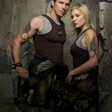Michal Trucco e Katee Sackhoff in una foto promozionale per la quarta stagione di Battlestar Galactica