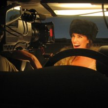 Anna Valle sul set del film MissTake