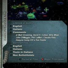 La schermata di selezione della lingua del DVD 'Futurama - Il colpo grosso di Bender'