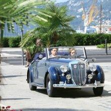 Cristiana Capotondi e Alessio Boni in auto in una scena di 'Rebecca, la prima moglie'