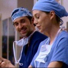 Ellen Pompeo e Patrick Dempsey, rispettivamente nei ruoli di Meredith Grey e Derek Sheperd, nell'episodio 'Salvami' della serie 'Grey's Anatomy'