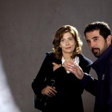 Il regista Francesco Munzi e Sandra Ceccarelli sul set del film Il resto della notte