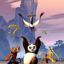 Una foto di gruppo per i protagonisti del film d'animazione Kung Fu Panda