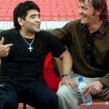 Diego Armando Maradona e il regista  Kusturica in una sequenza del documentario Maradona by Kusturica