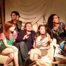 Sarah Maestri, Vanessa Scalera, Claudio Serughetti, Sarah De Marchi e Veronica Barbatano in una scena del film Il nostro messia