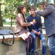 Vanessa Scalera, Ignazio Oliva e il regista Claudio Serughetti sul set del film Il nostro messia
