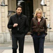 Adrien Brody con Emmanuelle Seigner sul set di 'Giallo'