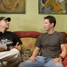 David Ayer e Keanu Reeves sul set del film La notte non aspetta