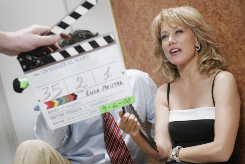 Nancy Brilli sul set del film Un'estate al mare