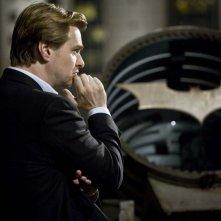 Il regista Christopher Nolan sul set del film Il cavaliere oscuro