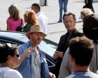 Ron Howard e Tom Hanks a Piazza del Popolo a Roma sul set di Angeli e demoni