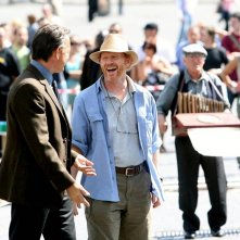 Tom Hanks e Ron Howard a Piazza del Popolo a Roma sul set di Angeli e demoni