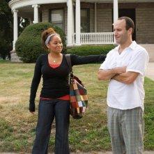 Raven-Symoné e il regista Roger Kumble sul set del film College Road Trip