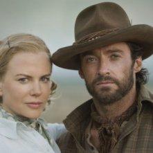 Nicole Kidman e Hugh Jackman sul set del film Australia