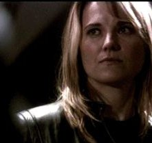 Lucy Lawless in una scena dell'episodio Revelations della quarta stagione di Battlestar Galactica