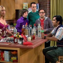 Johnny Galecki, Jim Parsons, Simon Helberg, Kaley Cuoco e Kunal Nayyar nell'episodio The Grasshopper Experiment  di The Big Bang Theory