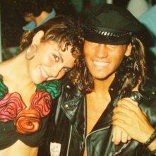Roberta Orlandi festeggia con Amedeo Recchi (ex attore-DJ, ora giornalista) nello spazio VIP Peter Pan '87