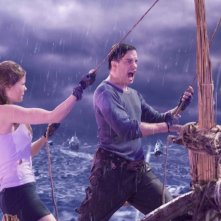 Brendan Fraser e Anita Briem in una scena del film Journey to the Center of the Earth 3D