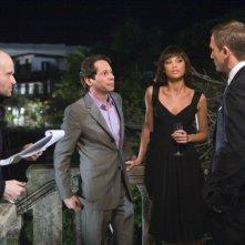 Il regista Marc Forster, Mathieu Amalric, Olga Kurylenko e Daniel Craig sul set di Quantum of Solace