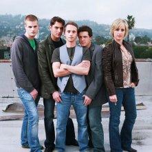 Jay Brannan, Eli Kranski, Brent Gorski, Christopher Wyllie e Melissa Searing in una foto promozionale del film Holding Trevor