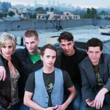 Melissa Searing, Jay Brannan, Brent Gorski, Eli Kranski e Christopher Wyllie in una foto promozionale del film Holding Trevor