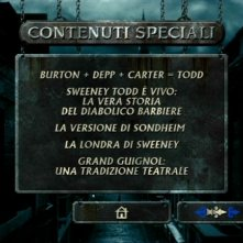 La prima schermata dei contenuti speciali di Sweeney Todd