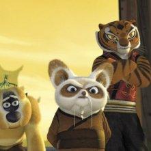 Una scena di gruppo coi protagonisti del film Kung Fu Panda