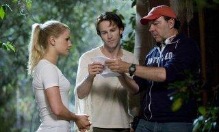 Anna Paquin, Stephen Moyer ed Alan Ball sul set di True Blood