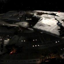 L'astronave Enterprie è gravemente danneggiata dopo uno scontro con gli Xindi nella terza stagione della serie Enterprise, episodio: Danni alla nave
