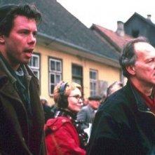Jouko Ahola e il regista Werner Herzog sul set del film Invincibile