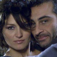 Chiara Conti e Vanni Bramati sul set del film La canarina assassinata