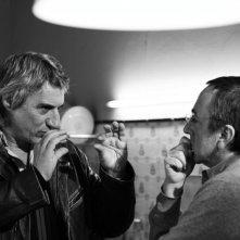 Mimmo Calopresti e Silvio Orlando sul set del documentario La fabbrica dei tedeschi